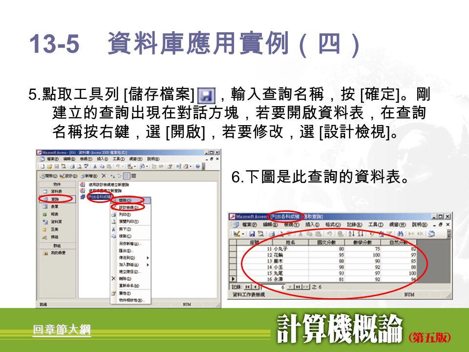 13-5 資料庫應用實例(四) 5.點取工具列 [儲存檔案] ,輸入查詢名稱,按 [確定]。剛建立的查詢出現在對話方塊,若要開啟資料表,在查詢名稱按右鍵,選 [開啟],若要修改,選 [設計檢視]。